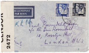 NED.EAST.INDIES.-GB [WW2 AIRMAIL & DOUBLE CENSORSHIP]