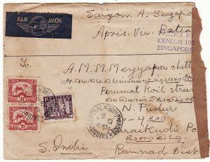 INDO-CHINE-INDIA [WW2- CENSORED in SINGAPORE]