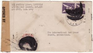 FRANCE-SWITZERLAND [WW2 US FORCES in PARIS to RED CROSS with INKED OUT CANCELS]