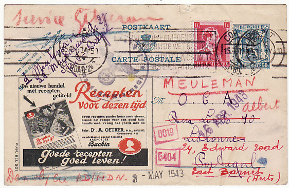 BELGIUM-PORTUGAL-GB [WW2 OFFICE DU COLIS ALIMENTAIRE UNDERCOVER MAIL]