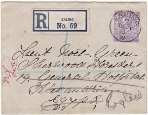 GB-EGYPT [1915 REGISTERED to 19th GENERAL HOSPITAL & RETURNED]