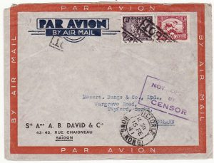 INDO-CHINE-GB [1941 PAQUEBOT via HONG KONG NOT OPENED BY CENSOR]