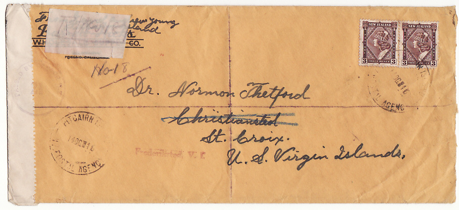 [15549]  PITCAIRN Is-VIRGIN Is [REGISTERED-CENSORED-NZ POSTAL AGENCY]  1940(Oct 14)