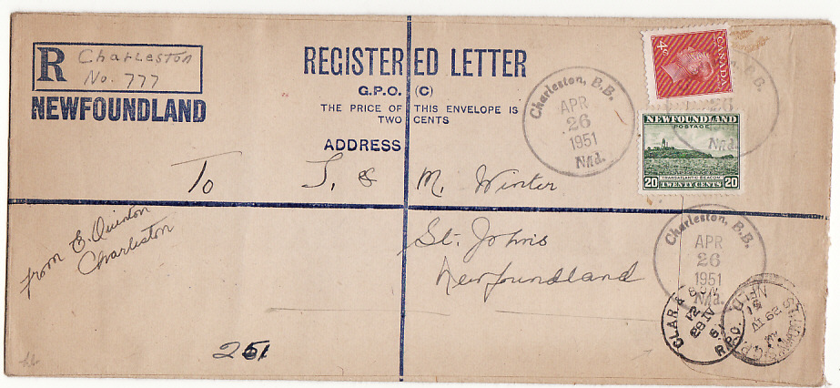 [15705]  NEWFOUNDLAND [FORMULA REGISTERED ENVELOPE]  1951(Apr 26)