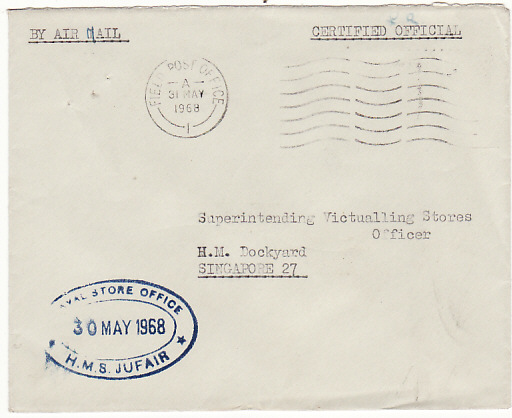 [16326]  BAHRAIN -SINGAPORE [BRITISH NAVAL MAIL]  1968(May30)