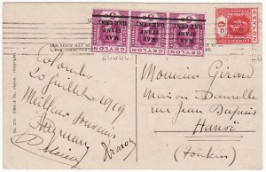 CEYLON-INDO CHINE [WW1 WAR TAX]