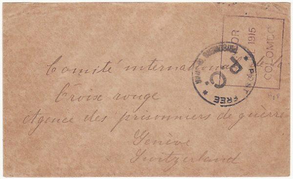 CEYLON-SWITZERLAND [WW1 POW MAIL]