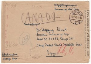 GERMANY-EGYPT-CANADA [DOUBLE CENSORED/POW MAIL]