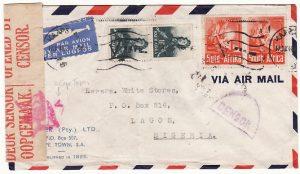 SOUTH AFRICA-NIGERIA [WW2 CENSORED AIRMAIL]