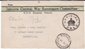 JAMAICA {WW1 CENTRAL WAR ASSISTANCE COMMITTEE]