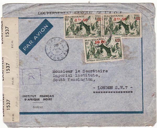 SENEGAL-GB [WW2 MAURITANIA USED IN SENEGAL REGISTERED CENSORED]