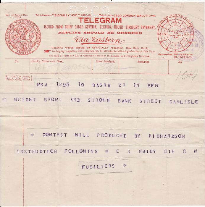 [14555]  IRAQ-GB [WW1 WEEK END TELEGRAM with PERFORATED INDENTS PBC9 CENSOR]  1918(Mar 8)