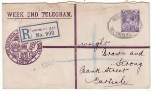 IRAQ-GB [WW1 WEEK END TELEGRAM with PERFORATED INDENTS PBC9 CENSOR]