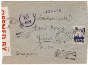 POLAND-SWITZERLAND [WW2 CENSORED REGISTERED to RED X & UNDERPAID]