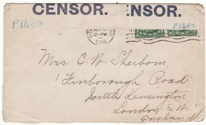 USA-GB [WW1 CENSORED with BLUE on WHITE label]