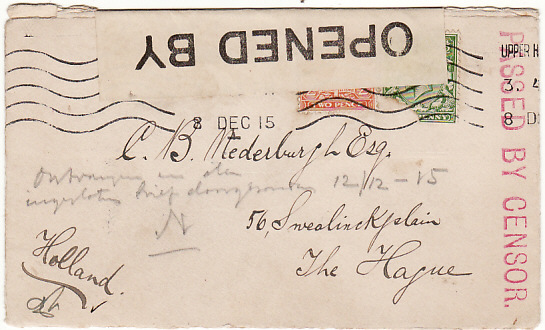 GB-HOLLAND [WW1 POW MAIL ISLINGTON POW CAMP]