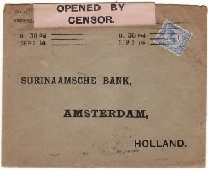 GB-HOLLAND [WW1 BLACK on PINK CENSORS LABEL]