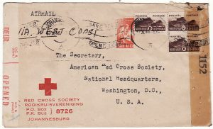 SOUTH AFRICA-USA [WW2 RED CROSS DOUBLE CENSORED]