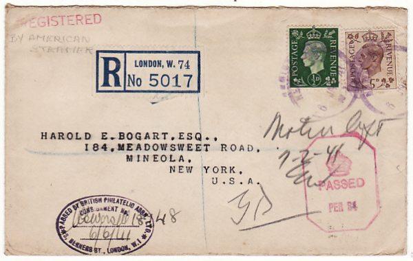 GB-USA [WW2 REGISTERED CENSORED PATRIOTIC]