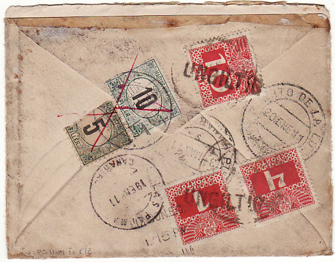 [14628]  GB-SPAIN-TRIESTE [MULTIPLE POSTAGE DUE]  1911(Jan 9)