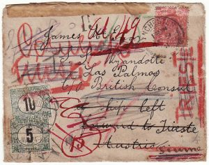 GB-SPAIN-TRIESTE [MULTIPLE POSTAGE DUE]