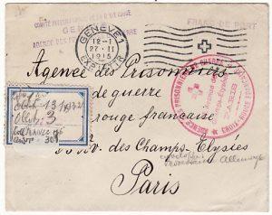 SWITZERLAND-FRANCE [WW1 RED CROSS SERVICE for PRISONERS OF WAR]