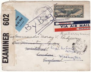 USA-GB-USA [AIRMAIL - BY RAF BAG - TWICE ACROSS ATLANTIC]