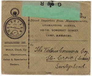 INDIA-SWITZERLAND [WW1 KARACHI CENSOR to WATCH & CLOCK DEALERS ENVELOPE]