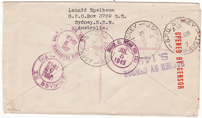 [14771]  AUSTRALIA-USA [REGISTERED/CENSORED/AIRMAIL]  1943(Jun 8)