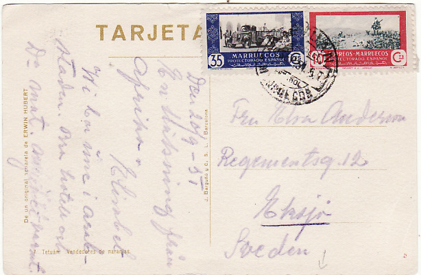 [17074]  SPANISH MOROCCO-SWEDEN [POSTCARD from TETUAN]  1951(Sep 20)