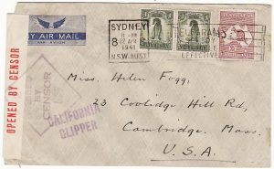 AUSTRALIA-USA [WW2 AIRMAIL via TRANS PACIFIC CLIPPER]
