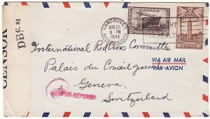 CANADA-SWITZERLAND [WW2 RED CROSS CENSORED AIRMAIL]