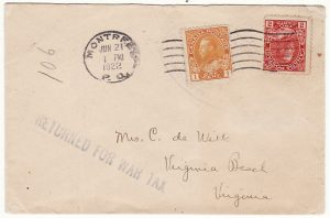 CANADA-USA [RETURNED FOR WAR TAX HOTEL MAIL]