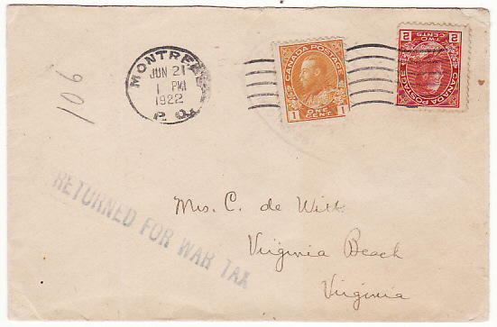 [15780]  CANADA-USA [RETURNED FOR WAR TAX HOTEL MAIL]  1922(Jun 21)