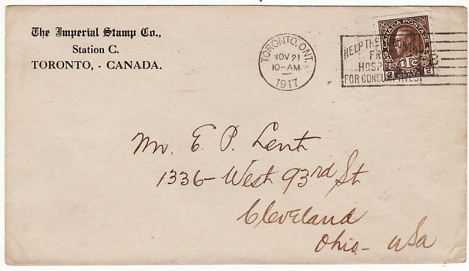 [15782]  CANADA-USA [WW1 WAR TAX & PATRIOTIC]  1917(Nov 21)