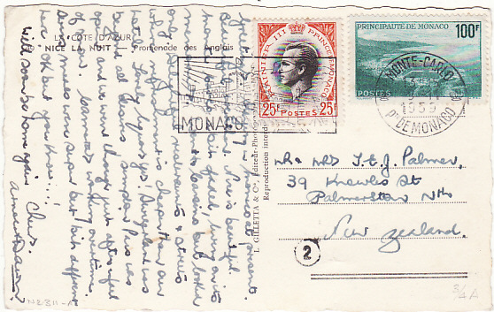 [17222]  MONACO-NEW ZEALAND [HIGH FRANKING on DESTINATION MAIL]  1959 (Nov 9)