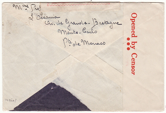 [14666]  MONACO-USA-AUSTRALIA [WW2 REDIRECTED CENSORED AIRMAIL]  1941(Mar 30)