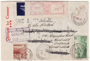 MONACO-USA-AUSTRALIA [WW2 REDIRECTED CENSORED AIRMAIL]