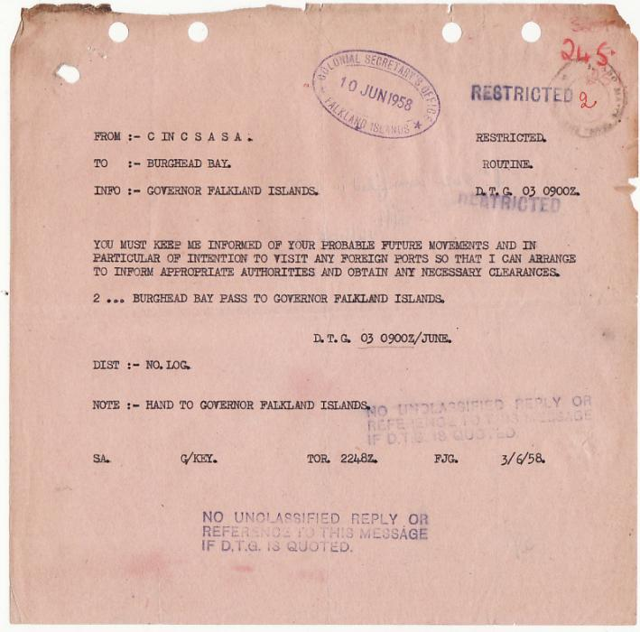 [16548]  FALKLAND ISLANDS/CHILE [HMS BURGHEAD BAY]  1958 Copies of 4 official letters plus a Naval Signal including a manuscript note in the hand of the Governor E.P. Arrowsmith regarding a request for passage from the Falklands to Chile on HMS Burghead Bay from a British civilian national, comprising 19 May copy letter Colonial Secretary