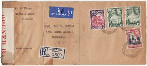 BERMUDA-CANADA [WW2 REGISTERED CENSORED AIRMAIL]