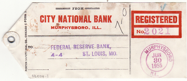[17261]  USA..1955 PREXIES on REGISTERED BAG TAGS to FEDERAL RESERVE BANK   1955(Jun 30)