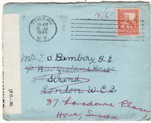NEW ZEALAND-GB...1944 WW2 CENSORED & FORWARDED...