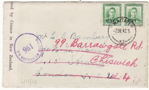 NEW ZEALAND-GB...1942 WW2 CENSORED & FORWARDED...