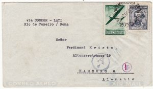 ARGENTINA-GERMANY...1941 WW2 AIRMAIL via LATI & CENSORED...