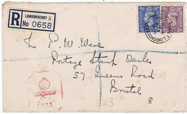 [17325]  IRELAND-GB...1943 WW2 REGISTERED CENSORED...  1943 (Sep 28)