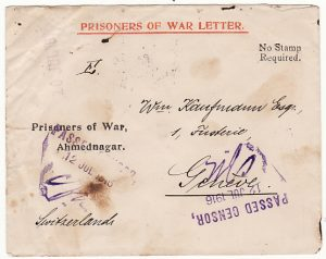INDIA-SWITZERLAND..1916 WW1 PRISONERS of WAR...