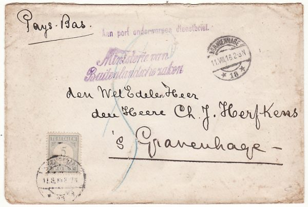 ITALY-NEDERLANDS...1916 WW1 DUTCH LEGATION ROME TAXED...