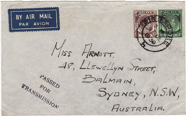 [17337]  MALAYA-AUSTRALIA...1939 WW2 STRAITS SETTLEMENTS CENSORED   1939(Dec 8)