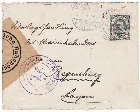 LUXEMBOURG-GERMANY..WW1 EARLY CENSORED...