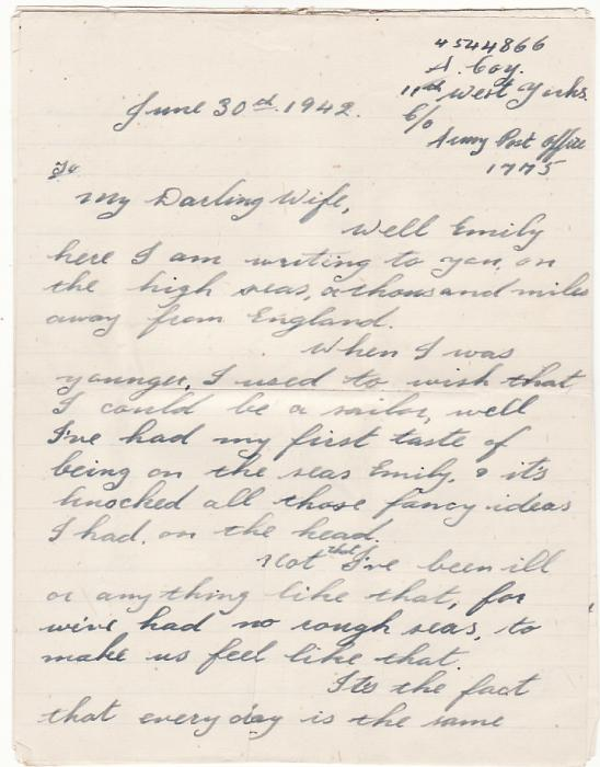 [10385]  FALKLAND ISLANDS-GB...WW2 TRANSPORT SHIP with LETTER...  1942 (Jun 30)